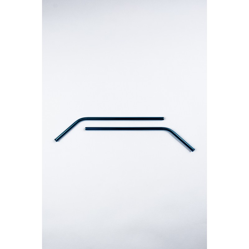 Pailles réutilisables en inox bleu courbées   Pailles & Co