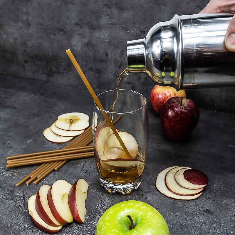 Apple fiber edible straws