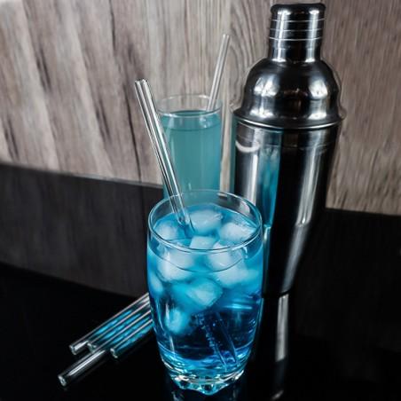 Cocktail avec une paille en verre réutilisable   Pailles & Co