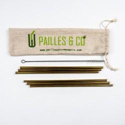 Kit pailles en inox couleur or | Pailles & Co