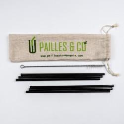 Kit pailles en inox couleur noir | Pailles & Co