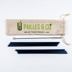 Kit pailles en inox couleur bleu | Pailles & Co