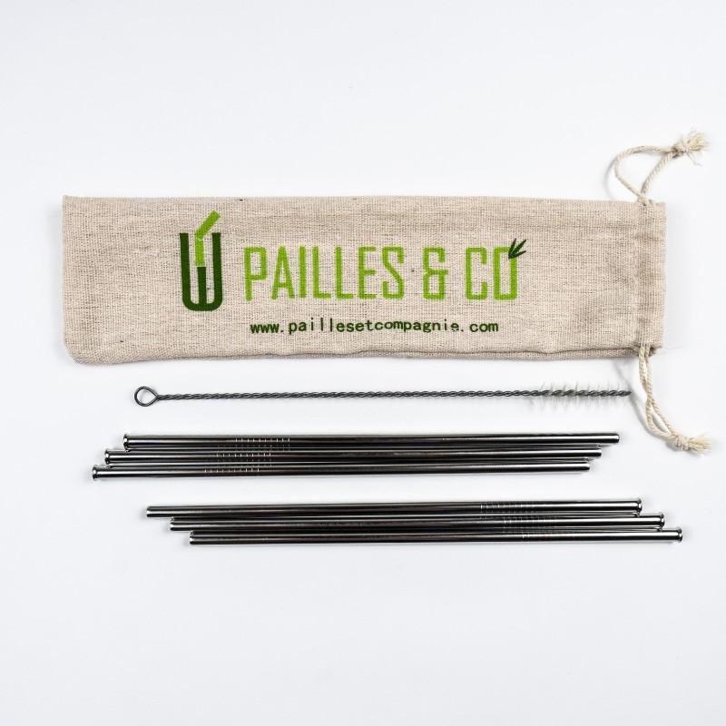 Kit pailles en inox couleur argent | Pailles & Co
