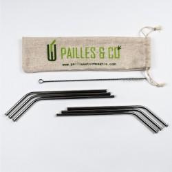 Kit pailles en inox courbées couleur argent | Pailles & Co